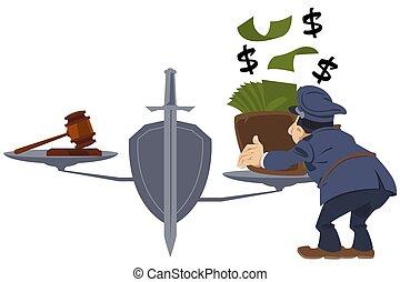argent, violation, flic, corrompu, justitia., law., justice...