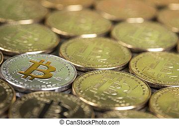 argent, virtuel, concept, nouveau, bitcoins