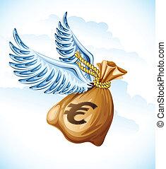 argent, voler, ailes, sac, euro