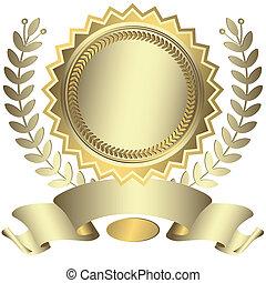 argenteo, premio, con, nastro, (vector)