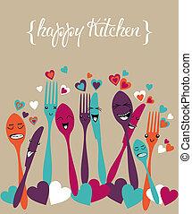 argenterie, heureux, ensemble, dessin animé, cuisine