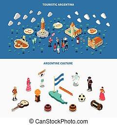 argentina, 2, isometrico, turistico, attrazioni, bandiere