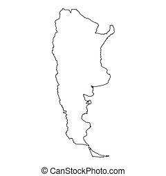 argentina, alto, paese, contorno, dettagliato