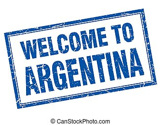 Argentina blue square grunge welcome isolated stamp