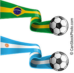 argentina & brazil flag with soccer