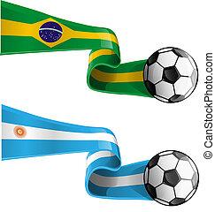 argentina & brazil flag with soccer