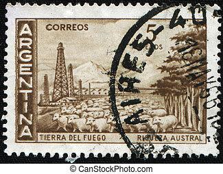Tierra del Fuego - ARGENTINA - CIRCA 1963: A stamp printed ...