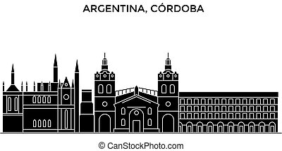 Argentina, Cordoba architecture vector city skyline, black cityscape with landmarks, isolated sights on background