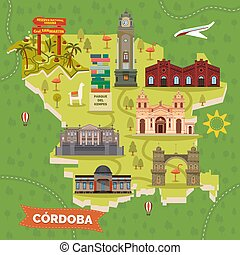 Cordoba, Argentina map with sightseeing landmarks. Arch or arco, central church or cathedral, Industria and Evita fine arts museum, Kempes Park and San Martin Reserve, Alta place, National observatory