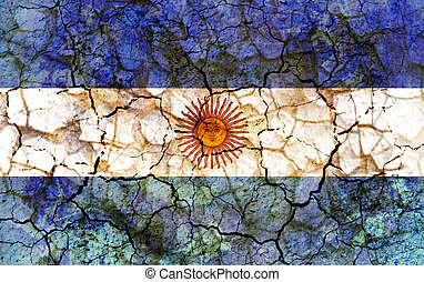 argentina country flag painted on a cracked grungy wall