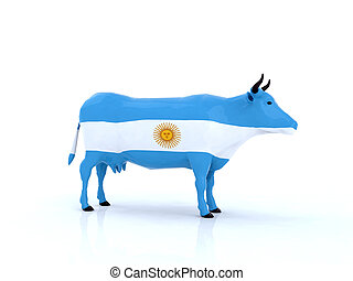 argentina cow 3d illustration