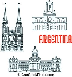 Argentina famous buildings vector facades. Basilica of Our Lady of Lujan, Buenos Aires Cabildo, Palace of the Argentine National Congress. Historic religious and state architecture. Vector linear icons for travel guide map elements