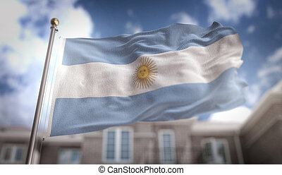Argentina Flag 3D Rendering on Blue Sky Building Background