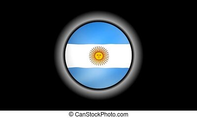 Argentina flag button isolated on black