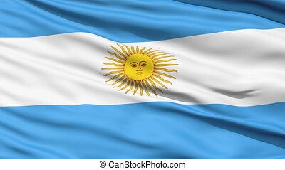 Argentina flag CloseUp Background - Rippled textile flag of...
