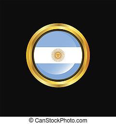 Argentina flag Golden button