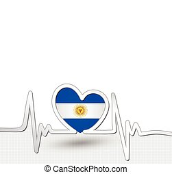 Argentina flag heart and heartbeat line