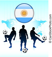 Argentina Flag Icon on Internet Button with Soccer Team Original Vector Illustration