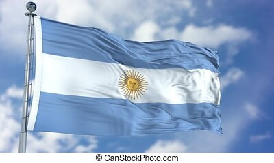 Argentina Flag in a Blue Sky