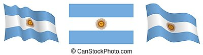 Argentina flag in static position and in motion, fluttering ...
