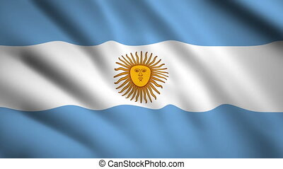 Argentina flag Motion video waving in wind. Flag Closeup 1080p HD footage
