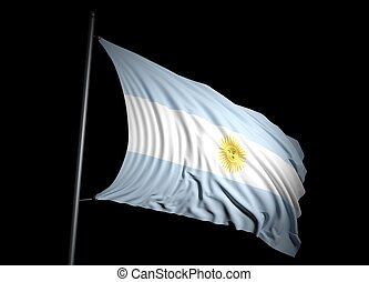 Argentina flag on black background