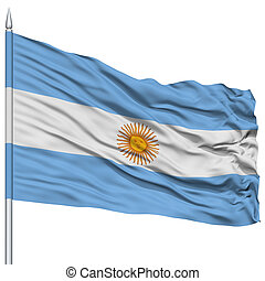Argentina Flag on Flagpole, Flying in the Wind, Isolated on White Background
