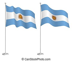 Argentina flag on flagpole waving in wind. Holiday design ...