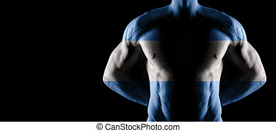 Argentina flag on muscled male torso with abs