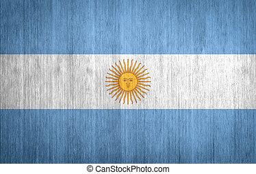 Argentina Flag on wood background