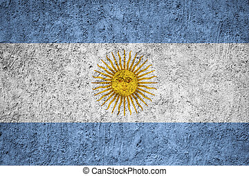 Argentina flag painted on the cracked grunge concrete wall