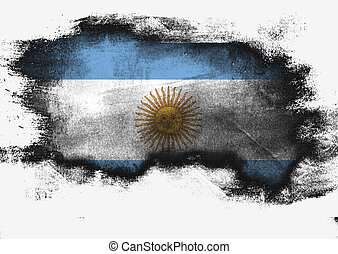 Argentina flag painted with brush