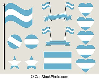 Argentina flag set. Collection of symbols, flag in heart. Vector illustration