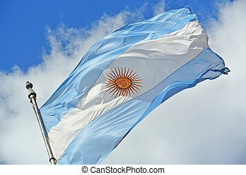 Argentina flag waving - Argentinean flag waving in the sky ...