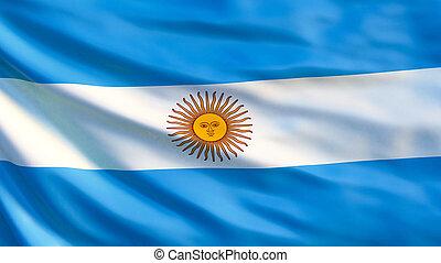 Argentina flag. Waving flag of Argentina 3d illustration