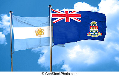 Argentina flag with Cayman islands flag, 3D rendering