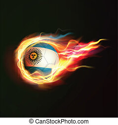 Argentina flag with flying soccer ball on fire isolated black background, vector illustration