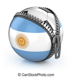 Argentina football nation - football in the unzipped bag with Argentina's flag print