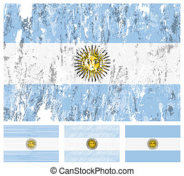 Argentina grunge flag set on a white background. Vector...