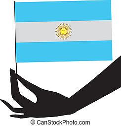 argentina, hans, flag, hånd