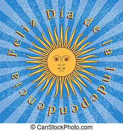 Argentina Independence Day. 9 July, Flag of Argentina. Rays from the center. Event name. Sun of May. Grunge background.