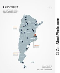 Argentina infographic map vector illustration.