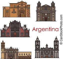 Argentina landmarks vector buildings line icons