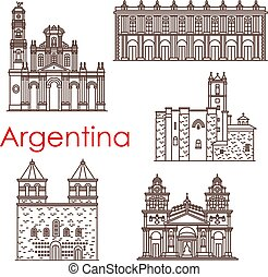 Argentina famous land mark building and architecture facade line icons. Vector set of Argentinean churches and cathedrals of Buenos Aires Franciscan monastery of Latin America travel sightseeings
