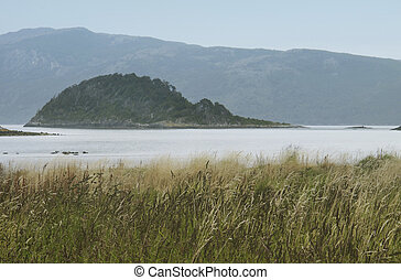 Argentina landscape with lake and mountains. Horizontal format