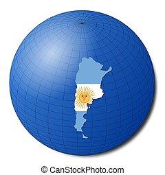 Argentina map flag on abstract globe illustration