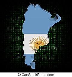 Argentina map flag on hex code illustration