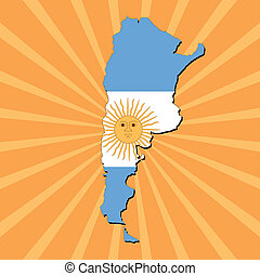 Argentina map flag on sunburst