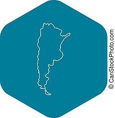 Argentina map icon, outline style