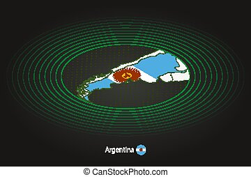Argentina map in dark color, oval map with neighboring countries.